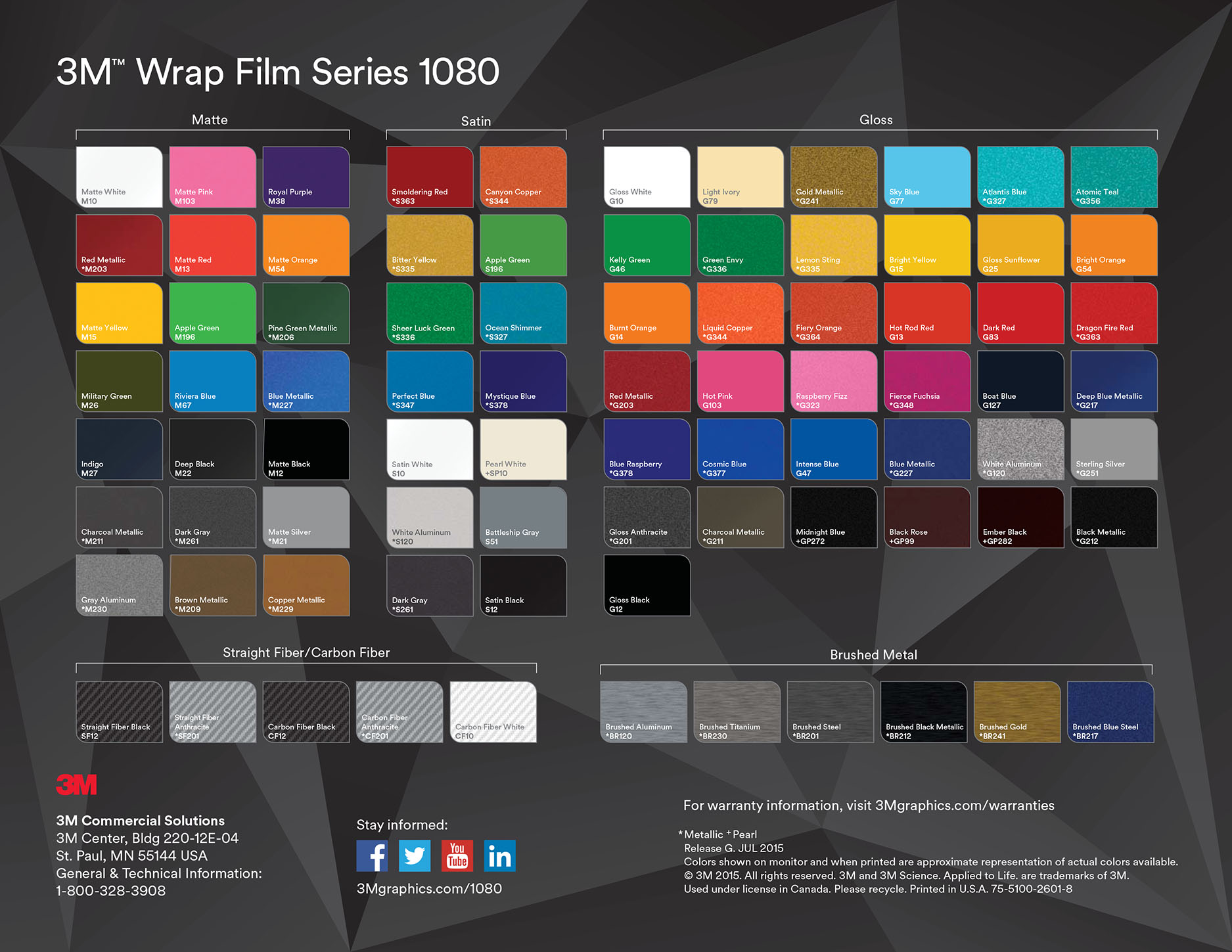 3m Wrap Film Series 1080 Swatch Sample Book